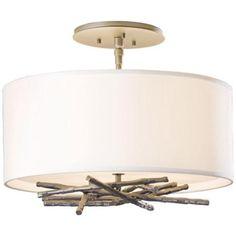 "Hubbardton Forge Brindille 12 3/4""W Steel Ceiling Light - #Y8795 | LampsPlus.com"