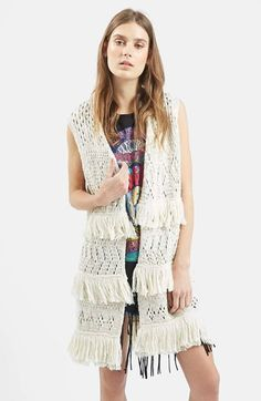 Topshop Fringe Sleeveless Cardigan available at #Nordstrom