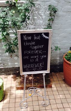 New chalkboard on our catalogue - MD060f. View more items at moidecor.co.za/hiring Together Forever, Silk Flowers, Chalkboard, Backdrops, Wedding Decorations, Shabby Chic, Outdoor Decor, Chalkboards, Wedding Decor