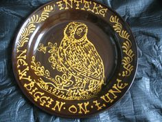 """WETHERIGGS SLIPWARE LARGE OWL PLATE / BOWL 16"""" PENRITH STUDIO POTTERY Penrith, Sgraffito, Decorative Plates, Owl, Pottery, Birds, China, Thoughts, Studio"""