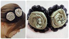 Diy flower headband, fabric rosettes tutorial,satin rose headband