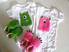 Green Fuzzy Monster Baby Gift Set by jengalaxy on Etsy