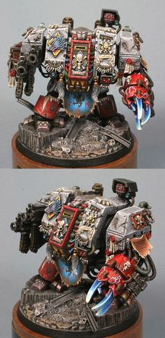 Sw MkV Venerable Dred. Wargear: wolfclaw w/ built-in heavy-flamer; twin-linked heavy-bolter.