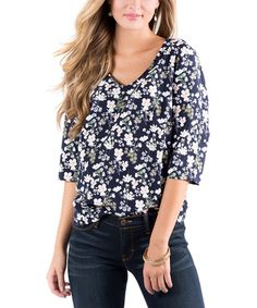 Loving this Navy & Pink Floral Sharp Shapes V-Neck Top on #zulily! #zulilyfinds