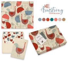 Chookas - Surface Pattern Design for stationery and giftwrap - by Mel Armstrong Design & Illustration
