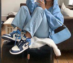 Jordan Shoes Girls, Jordan Outfits, Nike Outfits, Trendy Outfits, Air Jordans, Blue Jordans, Jordans Sneakers, Shoes Sneakers, Jordan 1 Blue