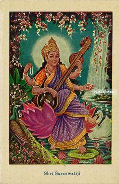 Goddess+Saraswati+Maa+vintage+post+card1.jpg (708×1095)