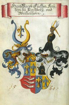«Wappenbuch des churbayrischen Adels» (Copie eines Originals von 1560), Band 1, [S.l.], 18. Jh. [BSB-Hss Cgm 1508 - urn:nbn:de:bvb:12-bsb00002248-9] -- Presentation at: http://bibliodyssey.blogspot.fr/2007/03/wappenbuch.html -- Hans Jacob Fugger, Freiherr zu Kirchberg un Weißenhorn (Bildnr.28)