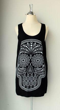 White Ancient Art Skull Print on  Black Tunic Shirt Tank Top Tunic Unisex Shirt Vest Women Sleeveless Singlet Black  Size M L