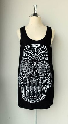 White Ancient Art Skull Print on  Black  Tank Top Tunic Shirt  Women / Men.