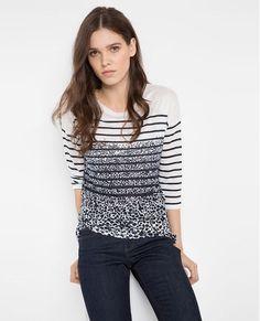 T-shirt en lin et lyocell VISSAGE - Couleur OFF WHITE/MIDNIGHT BLUE