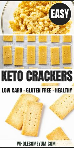 Paleo Low Carb Keto Crackers Recipe with Almond Flour – Crunchy, buttery keto crackers (almond flour crackers) made with 2 INGREDIENTS! Looking for how to make an easy paleo low carb crackers recipe? Keto Friendly Desserts, Low Carb Desserts, Low Carb Recipes, Healthy Recipes, Keto Crackers Recipe, Low Carb Crackers, Galletas Paleo, Keto Snacks, Snack Recipes