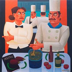Graham Knuttel- Bottle of Gin #art #painting #Chefs #cooking #GrahamKnuttel #DukeStreetGalllery