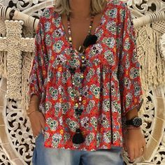 55324f9089433 Plus Size V-Neck Loose Printed Long Sleeve Blouse