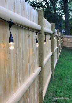 backyard cafe lights along the fence – fun idea! backyard cafe lights along the fence – fun idea! Backyard Cafe, Backyard Patio Designs, Small Backyard Landscaping, Backyard Fences, Backyard Projects, Diy Patio, Backyard Pools, Budget Patio, Landscaping Ideas