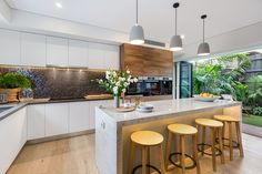 Open plan: The bright airy kitchen opening onto the outdoor area is a big selling point fo. Kitchen Benches, Kitchen Dining, Kitchen Interior, Home Interior Design, Kitchen 2016, Townhouse Interior, Asian Kitchen, Open Plan Kitchen, The Block Kitchen