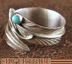 Navajo Indian Jewelry Genuine Sterling Silver And Turquoise Adjustable Feather Ring Size 4 5 6 RS40834