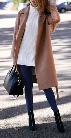 #winter #fashion / camel coat + oversized knit