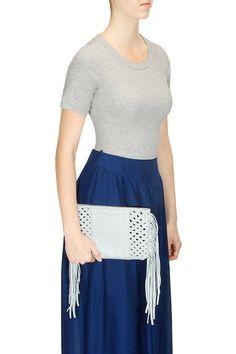 Mint mixed weave fringe clutch by Suede.   Shop now: http://www.perniaspopupshop.com/designers/suede-by-devina-juneja  #shopnow #perniaspopupshop #suede #bags #fringe