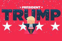 "Great motion design, color scheme, and illustrative style. Hilarious video on ""Trump Facts."""