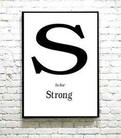 Lekker plakat med en bokstav og et adjektiv. Helt personlig og unikt for nettopp deg. I Shop, Letters, Art, Art Background, Kunst, Letter, Performing Arts, Lettering, Art Education Resources