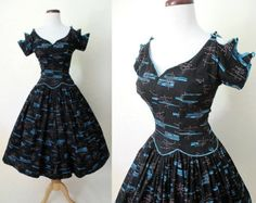 Out of this World 1950's Atomic Print Cotton Dress w/ Drop Waist and Scalloped Shoulder Detail Rockabilly VLV Pinup Size-Small