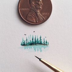 Tiny watercolor of the pine surrounded pond I saw today....