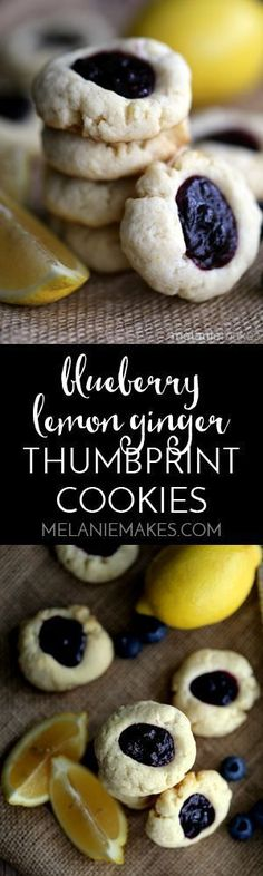 These Blueberry Lemon Ginger Thumbprint Cookies pack a bright citrus punch!. A lemony ginger thumbprint cookie is baked and then filled with a blueberry lemon ginger filling to create a one of a kind flavor combination. Your cookie jar will be begging to be filled with this delicious cookie!