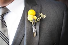 Yellow boutonniere  (photo: Two One Photography) billy button and seeded eucalyptus