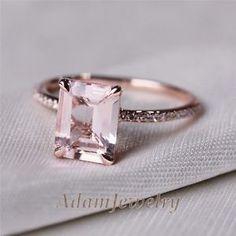 VS-7x9mm-Emerald-Cut-14K-Rose-Gold-Morganite-Diamond-Engagemt-Wedding-Ring