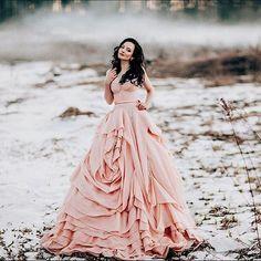 Perfect blushing rose in @malyarovaolga. #Malyarovaolga #rosegown #ruffles #dreamdress #weddingphotographer #flowers #dress #decor #styledshoot #blushwedding #coloredgown #weddingdress #bridalgown #dotd #ido #love #beauty #instamood #blushrose #bridalstyl