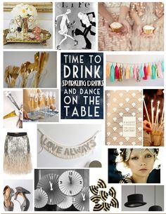 A Great Gatsby-themed party mood board. (Awkward Girls: Guest Post by Lindsay at Just Us)