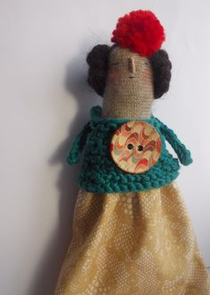 SALE Dotty - a knitted handmade Art doll on Etsy, $52.40