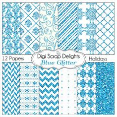 Sale Blue Glitter Digital Scrapbook  Papers by DigiScrapDelights, $3.00