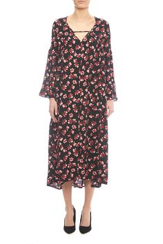 Navy midi dress with a red floral pattern, long sleeves and a v-neckline.   Button Down Dress by NU New York. Clothing - Dresses - Midi Clothing - Dresses - Floral Clothing - Dresses - Casual Clothing - Dresses - Long Sleeve Union Square, Manhattan, New York City Manhattan, New York City