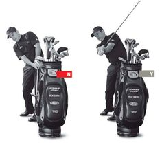 Many of you are so afraid of hitting it right that you swing way to the left. You're trying to steer the ball, instead of swinging through it. This creates a handcuffed release, which seriously limits power. Solution: don't hit the bag. Set your golf bag a few feet in front of you so you can still reach it with the clubhead. Make slow swings where you rotate your body and forearms through the shot, missing the bag (above right). If you try to swing to the left through the impact area, you'll…