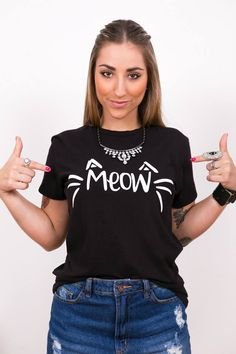 Tshirt Meow Black Cat
