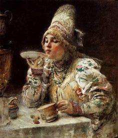 Chaepitie - Tea Drinking in Russian Woman wearing traditional clothes and drinking tea from the saucer. We used to do that as kids to cool off the tea. Russian Tea, Russian Beauty, Russian Style, Russian Folk, Russian Painting, Tea Art, Illustrations, Drinking Tea, Art Museum