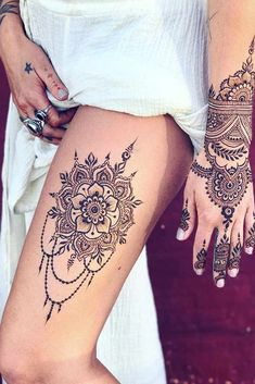 Thigh Henna Tattoo Design #thightattoo ★ Discover amazing simple and intricate henna tattoo designs and their meanings. Embellish your arm, leg, foot, other body parts. #hennatattoo #hennatattoodesign #hennatattoodesigns #tattooideas #tattoodesigns #tattooforwomen