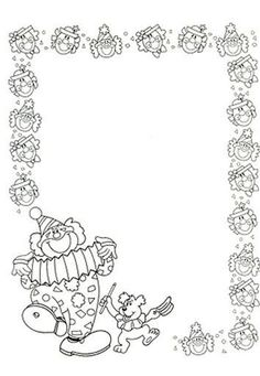 Borders For Paper, Borders And Frames, Coloring Book Pages, Coloring Pages For Kids, Clowns, English Creative Writing, Circus Activities, Clown Crafts, Kindergarten Portfolio