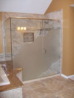Servicing Chicago since 1972 with custom etched frameless glass shower doors at factory direct prices. Check out all of our beautiful etched and sandblasted corner enclosure frameless glass shower doors and set up a free consultation! Frosted Shower Doors, Bathtub Shower Doors, Frameless Shower, Glass Shower Doors, Walk In Shower, Sliding Glass Door, Glass Shower Enclosures, Glass Partition, Bathroom Medicine Cabinet