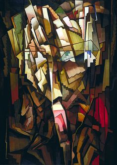 Synthetic Arrangement, 1922, oil on canvas. Morris Kantor (1896-1974) was a Russian-born American painter based in NYC.  Over the course of his life he also spent time working in styles such as Cubism and Futurism, and produced a number of abstract or non-figural works.