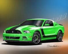 2013-2014 Ford Mustang GT & Boss 302 Art prints by Danny Whitfield - 10 different colors to choose from! Get one now at:http://www.dannywhitfield.com/2013_2014_mustang.html
