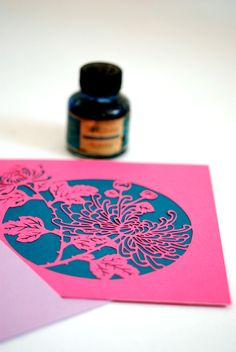 2x gift card japanese chrysanthemum, plotter cut, fuxia and turquoise with envelope