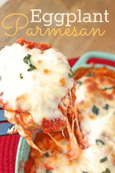 While a lot of recipes involve pan frying the individual pieces of breaded eggplant, this one has you bake them instead. (And yes, you can use a jar of sauce instead of making your own.) If you're looking for a lightened-up version, try these eggplant parmesan stacks, which don't involve breadcrumbs.