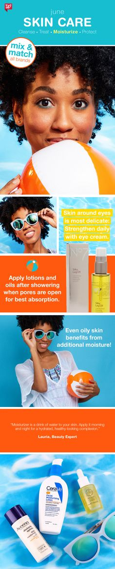 Be on the ball for beautiful, healthy summer skin! Follow our easy 4-step skin care regimen of cleanse, treat, moisturize and protect. Buy 2, get 3rd FREE, all skin care and sun care, now through June (Step Father Tips)