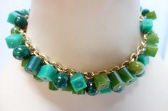 BERGERE Green Bakelite Choker & Earrings Demi by Vintageables, $175.00