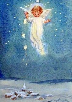 by Erica von Kager. Vintage Greeting Cards, Vintage Christmas Cards, Christmas Images, Christmas Angels, Christmas Art, Xmas, I Believe In Angels, Angel Pictures, Angels Among Us