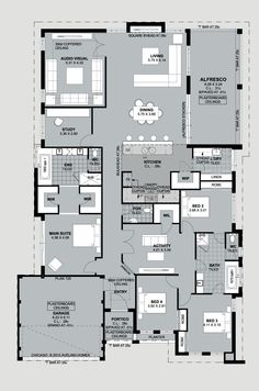 my favourite traditional floor plan. Aveling Luxury Collection presents The Chicago - Floorplan Luxury House Plans, New House Plans, Dream House Plans, House Floor Plans, Home Design Floor Plans, Plan Design, Building Plans, Building A House, House Layouts