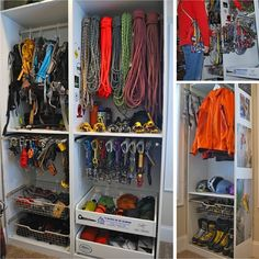 So much more efficient racking up for a trip with my new #gearcloset.  Plus it feels like shopping when I pull cams off the rack. #climbing #climberism #climingmag #gear